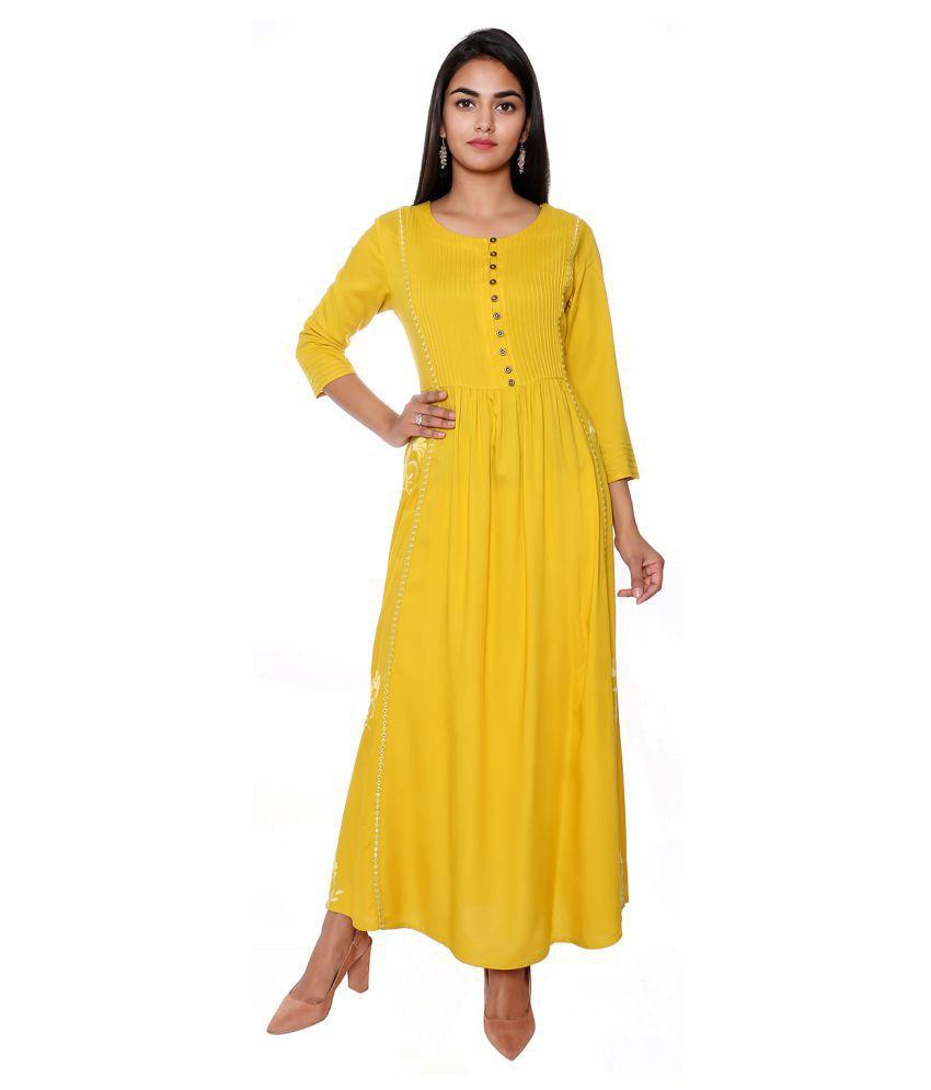 fabGlobal Rayon Green A- line Dress