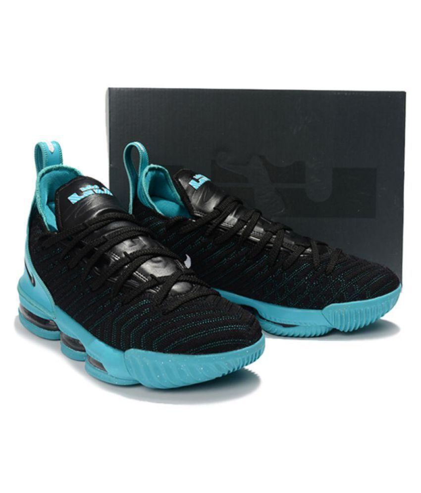 quality design cc32e 6aeee Nike Lebron 16 Black blue Midankle Male Black: Buy Online at ...