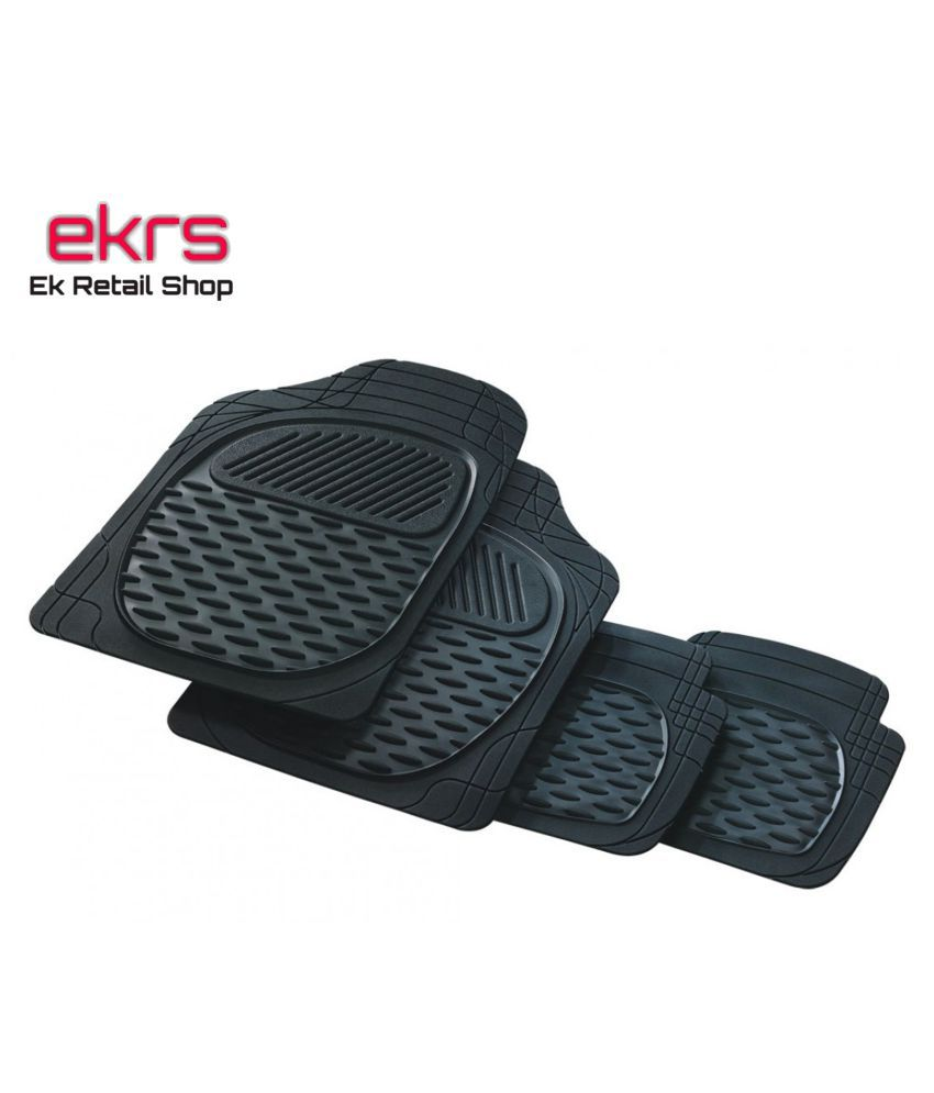 Ek Retail Shop Car Floor Mats (Black) Set of 4 for TataTiago1.2RevotronXZWOAlloy