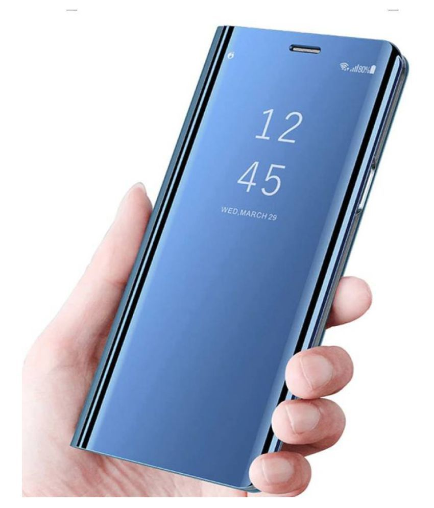 save off 4fe48 57197 Samsung Galaxy S9 Plus Flip Cover by ClickAway - Blue Luxury Clear View  Mirror Flip Cover
