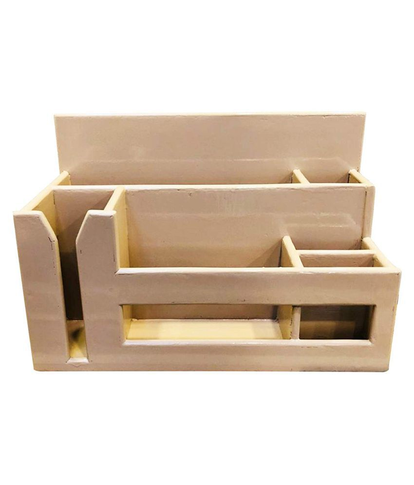 Wooden Utensil Caddy Flatware - Holder for Spoons, Forks, Full Plates, Half Plates,Cups, Napkins, Silverware Drawer Organizer Home, Restaurant, Camper by Woodshop (Fawn Beige)