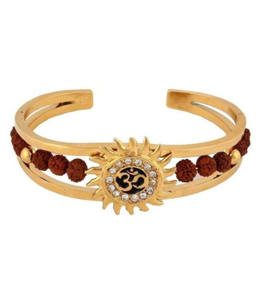 Lord Shiv High Quality Gold Plated Brass Om Mens Kada (adjustable Size)