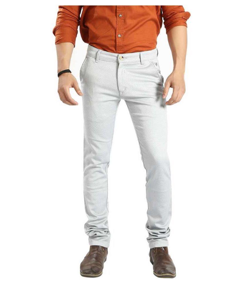 Awack Grey Slim -Fit Flat Trousers