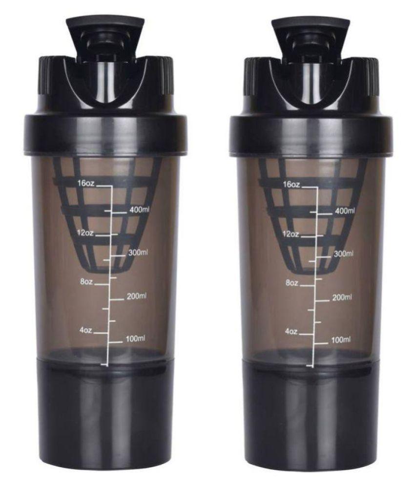 Cp Bi gbasket Gym Shaker Black 1000 ml Plastic Water Bottle Set of 2