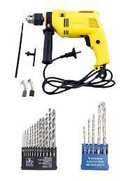 Buildskill 350W 13mm Impact, Reversible Drill Machine with 5 Masonry + 13 HSS Drill Bits