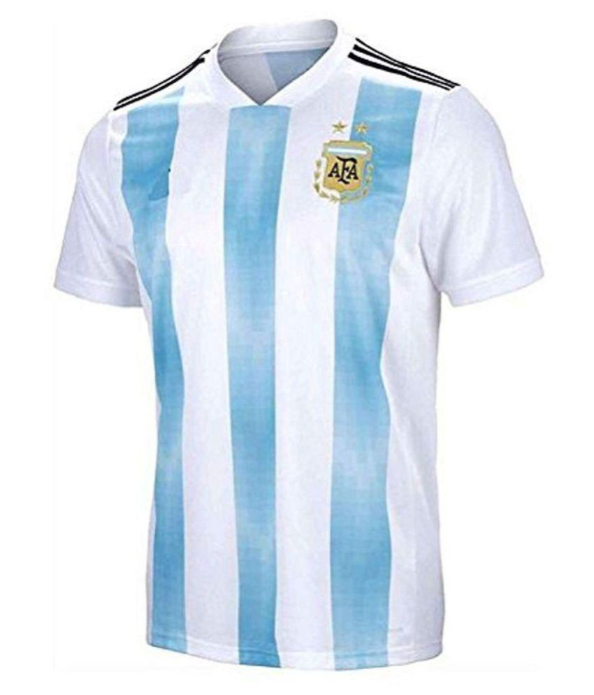 official photos 4d942 6fdd2 Argentina Jersey World Cup with Messi Printed kit White/Blue(Argentina  Jersey Messi T-shirt