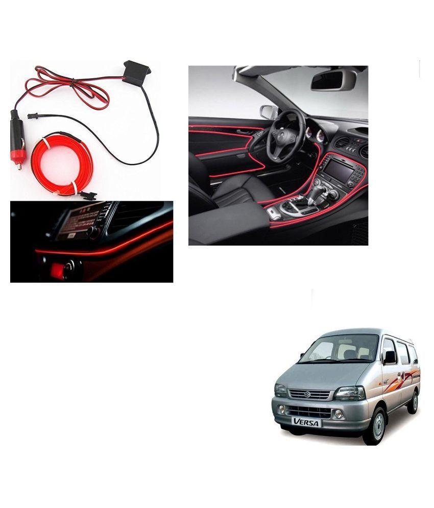 Auto Addict Red Color 12V 5Mtrs Roll Cold Light Car Socket Strip Neon Lamp Creator Decor Dashboard Interior Lighting For Maruti Suzuki Versa