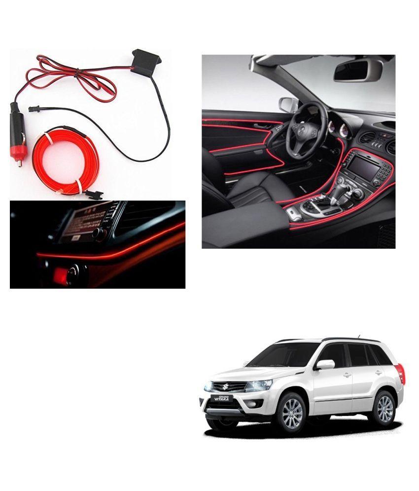 Auto Addict Red Color 12V 5Mtrs Roll Cold Light Car Socket Strip Neon Lamp Creator Decor Dashboard Interior Lighting For Maruti Suzuki Grand Vitara