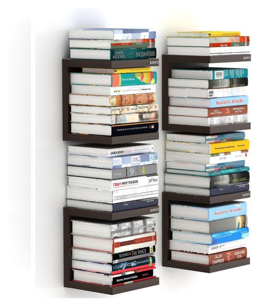 san francisco 89d64 2c2d9 Bluewud Alvin Wall Mount Book Shelf Rack/Display Case (Set of 4, Wenge)