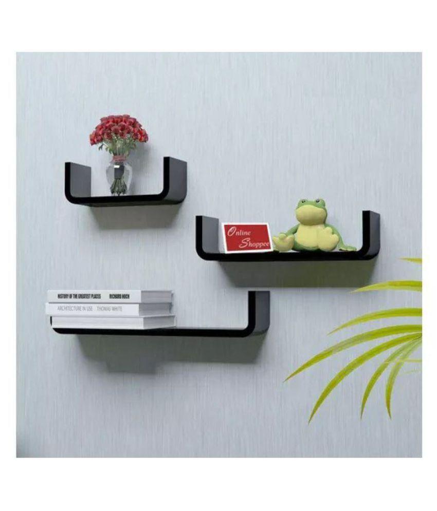 Onlineshoppee Floating Shelves Black MDF - Pack of 3