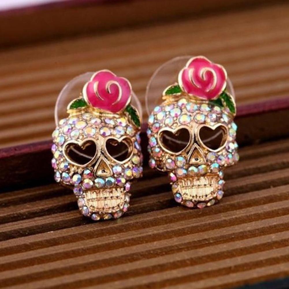 Funny Rose Skull Multicolor Rhinestones Earrings Women Ear Studs Jewelry Gift Fashion Jewellery