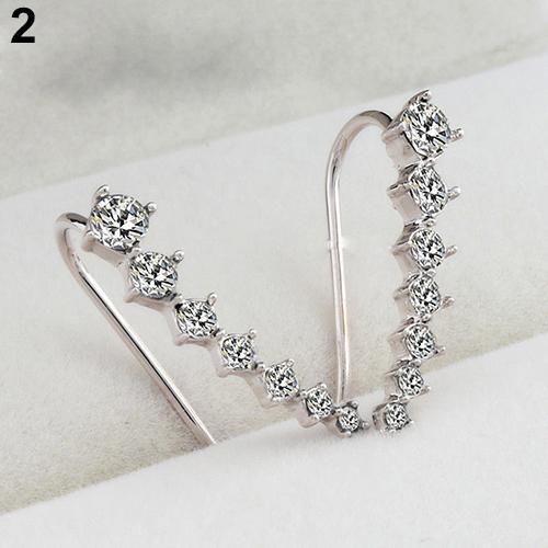 Women Fashion Rhinestone Big Dipper Ear Studs Clips Hook Earrings Jewelry Gift Fashion Jewellery