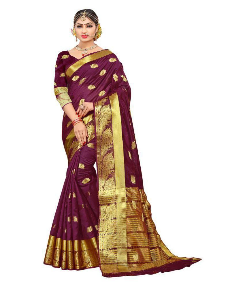 fda6a3c1f9 Pemal Designer Brown Cotton Silk Saree - Buy Pemal Designer Brown Cotton Silk  Saree Online at Low Price - Snapdeal.com