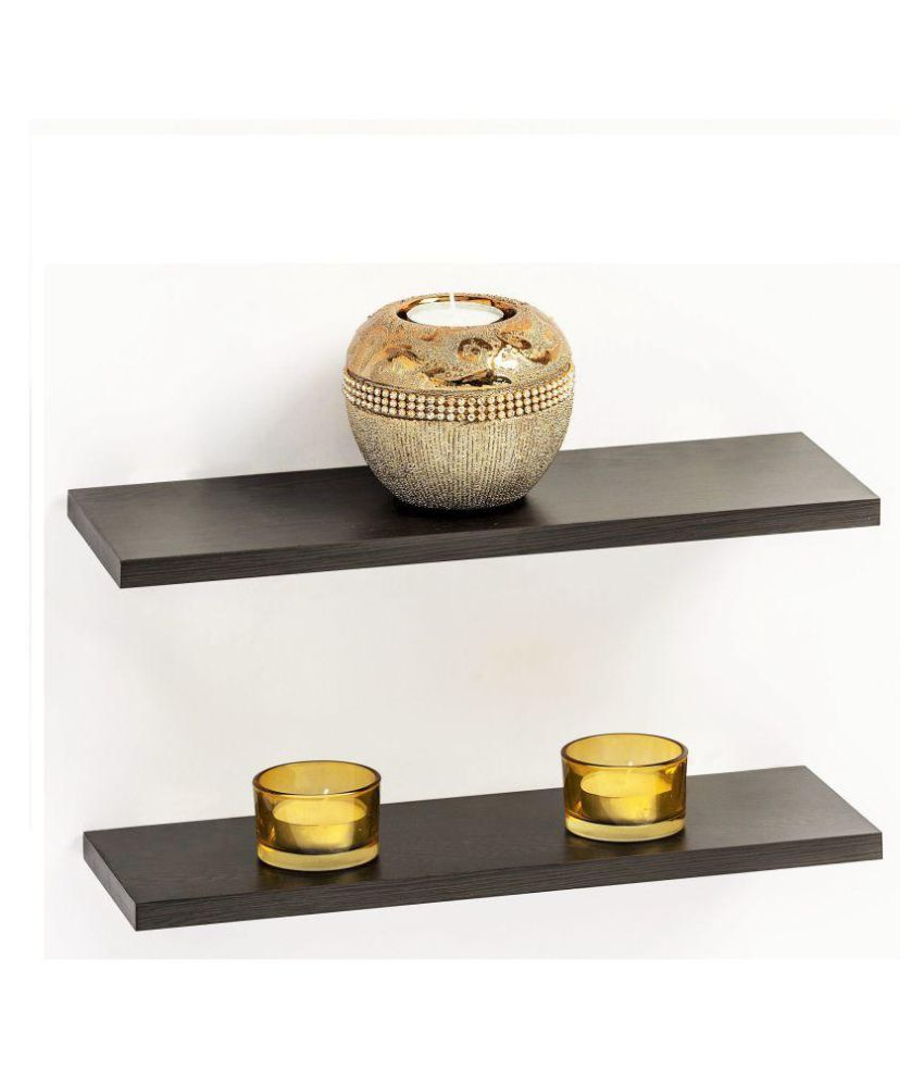 Bluewud Wall Dĩcor Shelf & Display Rack - Stellar Series (Wenge, 4.75 x 11.75 inches, set of 2) S-TW12-12S2
