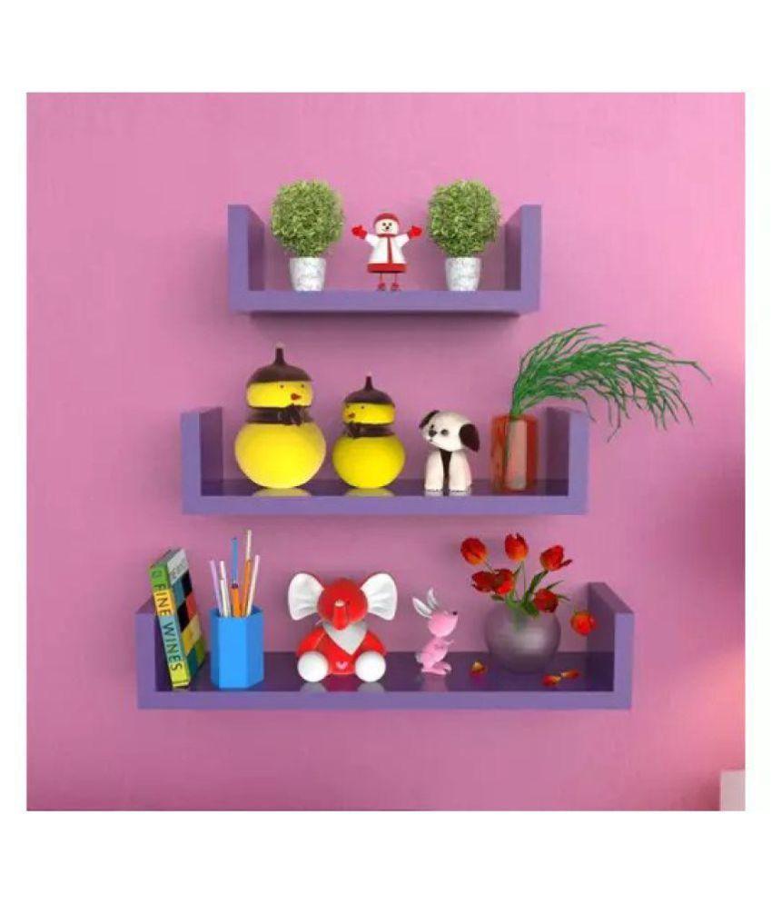 Onlineshoppee U Shape Floating Wall Shelves Set of 3 - Purple