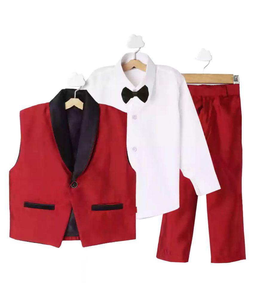 Jeet Red Silk Boys WaistCoat Suit Set