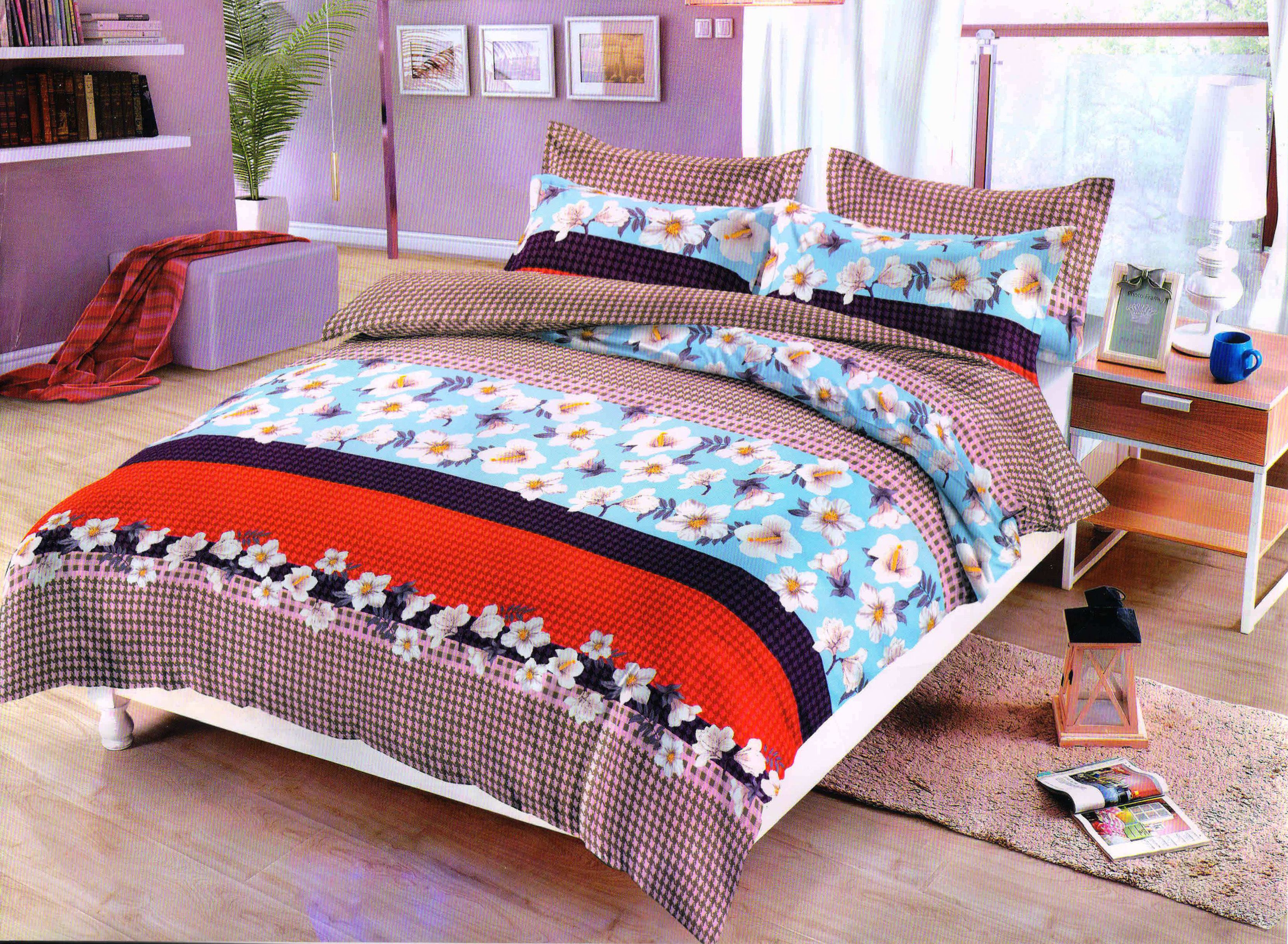 Veejay Home Decor Microfibre Double Bedsheet with 2 Pillow Covers