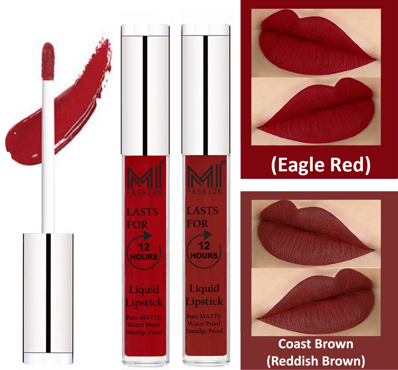 MI FASHION Liquid Lipstick Eagle Red,Coast Brown 3 ml Pack of 2