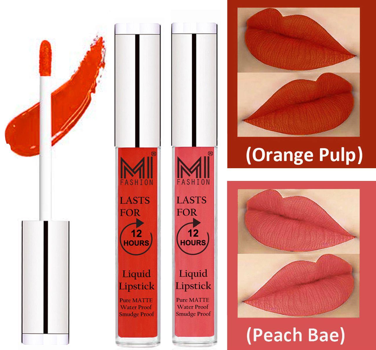 MI FASHION Liquid Lipstick Orange Pulp,Peach Bae Pack of 2