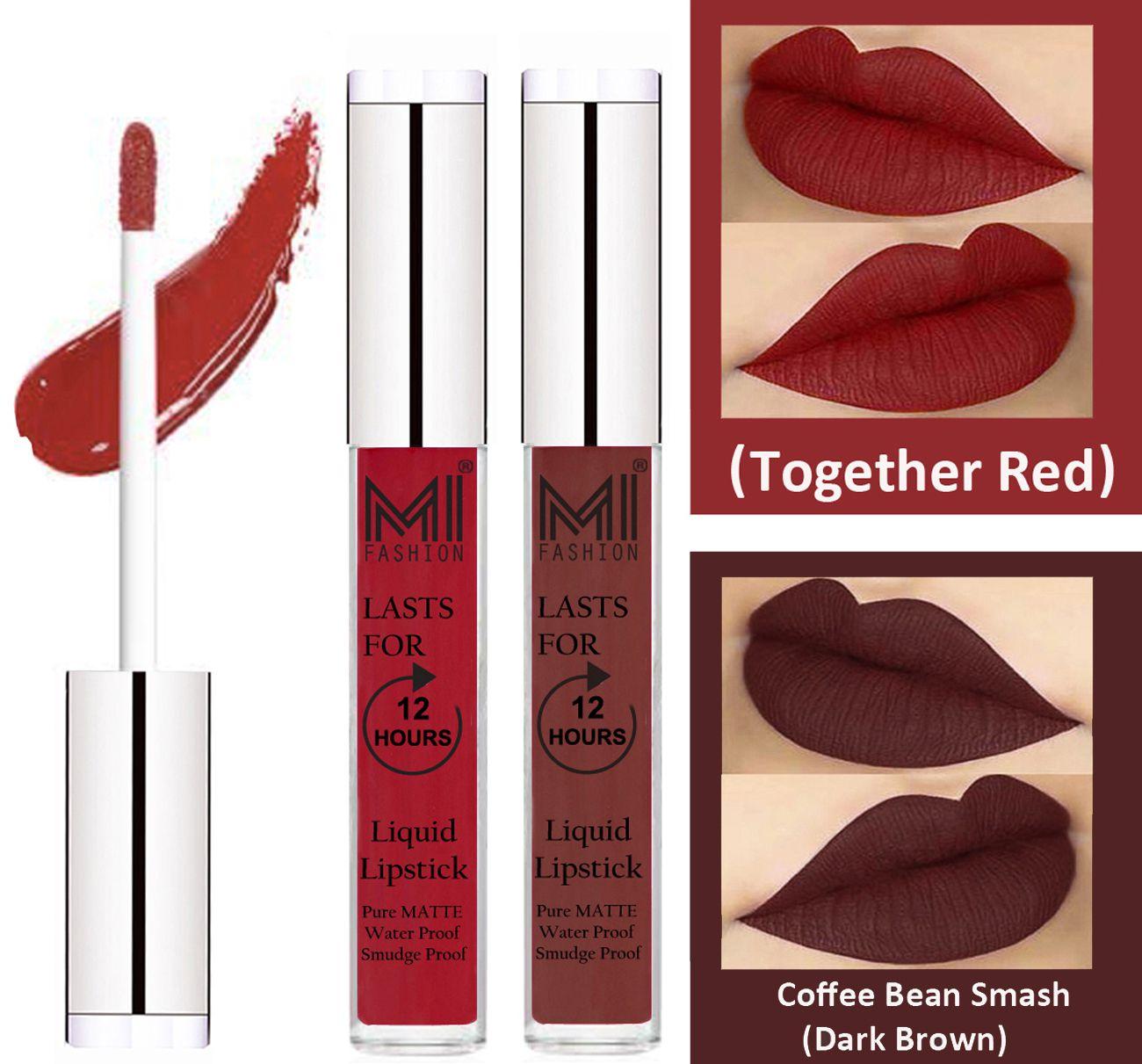MI FASHION Liquid Lipstick Together Red,Dark Brown 3 ml Pack of 2