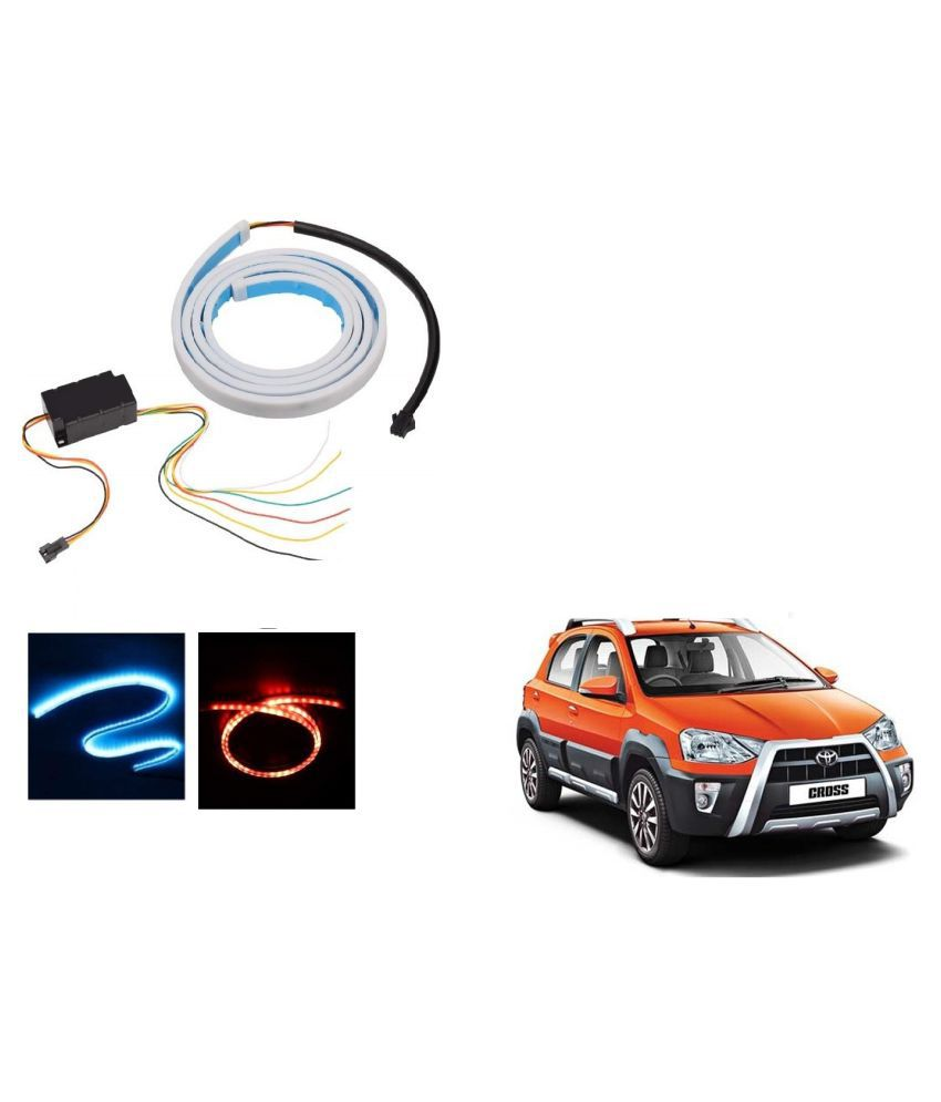 Auto Addict LED Dicky Light Ice Blue & Red DRL Brake with Side Turn Signal & Parking Indication Dicky, Trunk, Boot Strip Light For Toyota Etios Cross