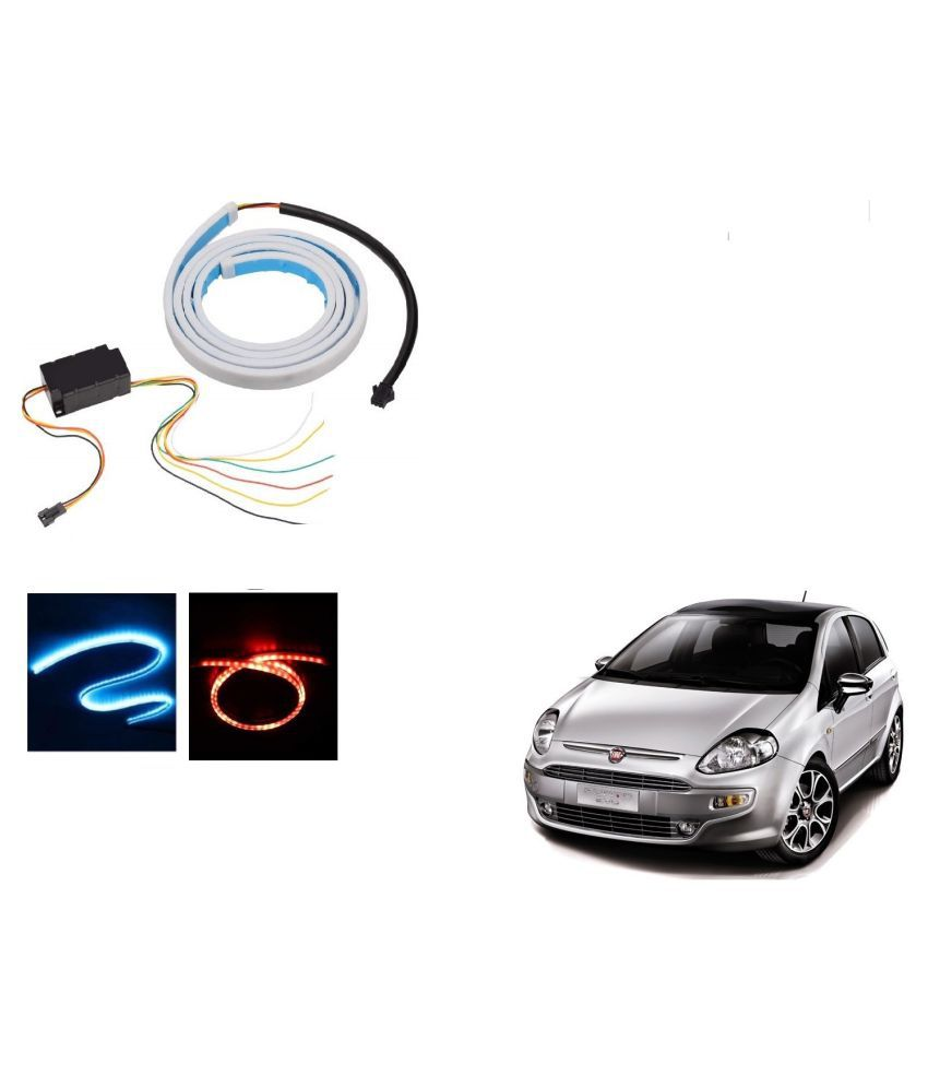 Auto Addict LED Dicky Light Ice Blue & Red DRL Brake with Side Turn Signal & Parking Indication Dicky, Trunk, Boot Strip Light For Fiat Punto Evo