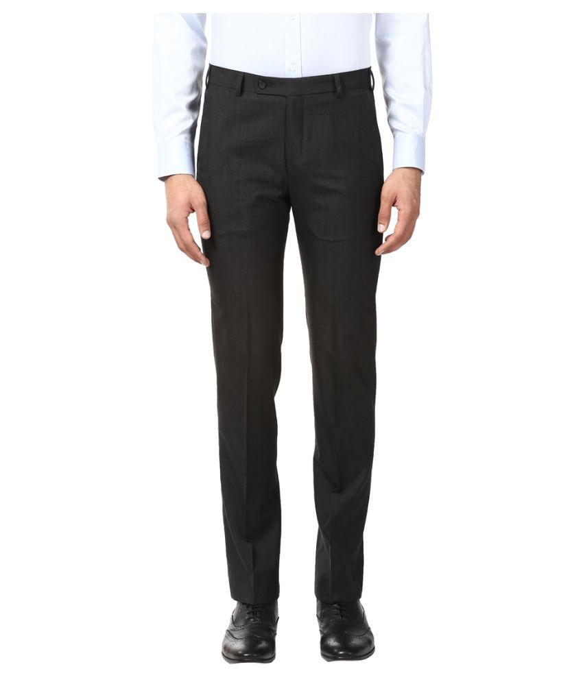 Park Avenue Brown Regular -Fit Flat Trousers