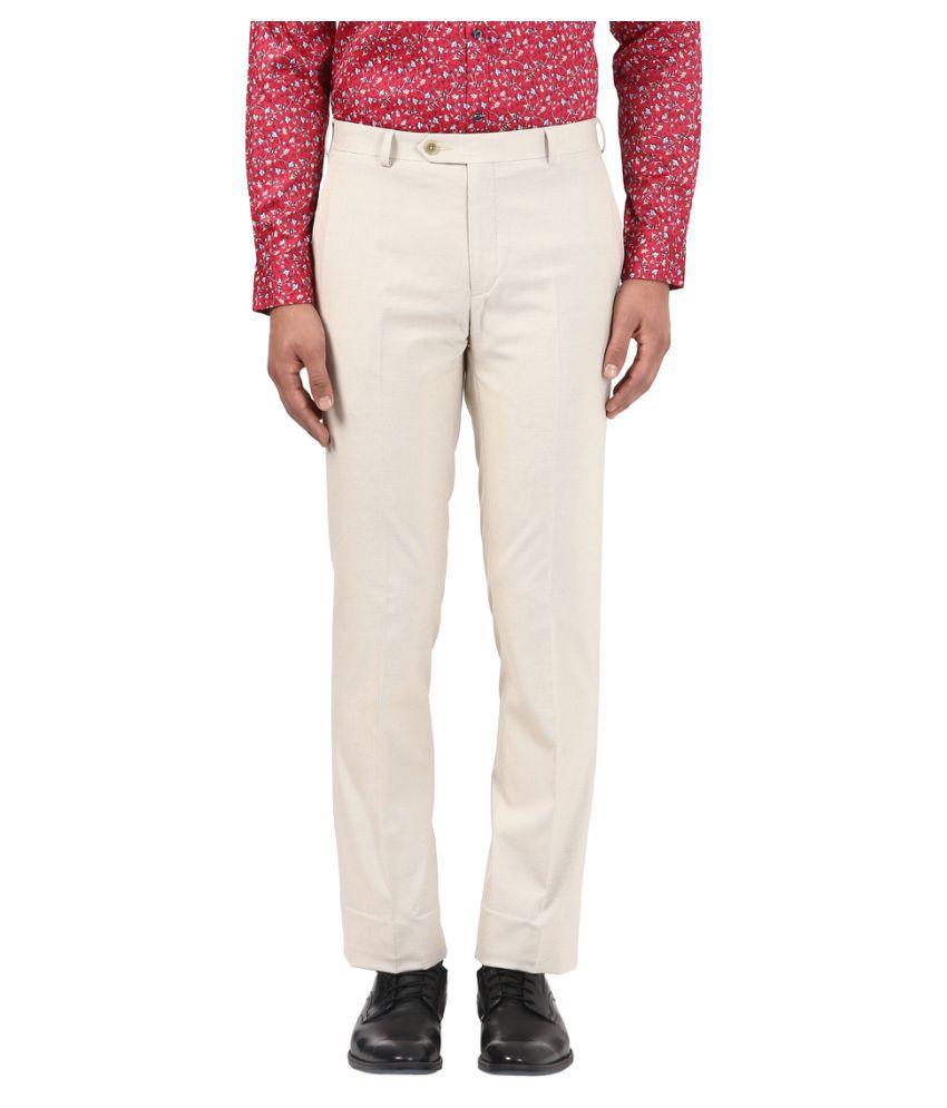 Raymond Brown Regular -Fit Flat Trousers
