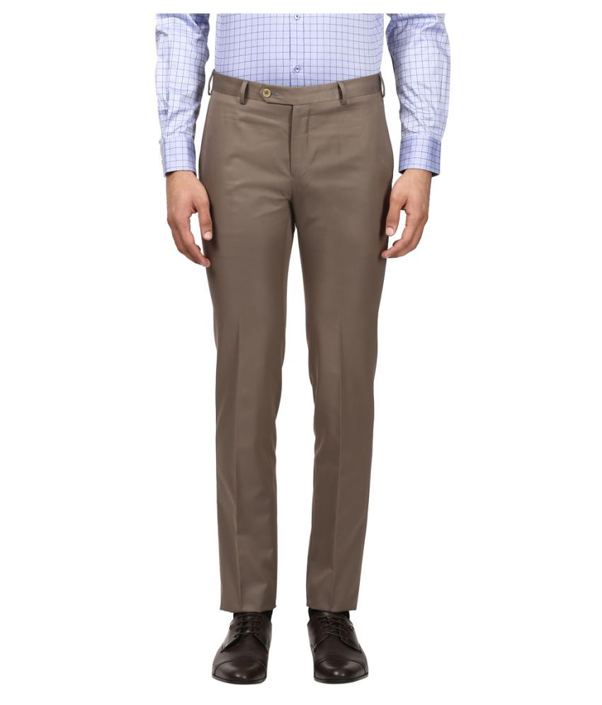 Raymond Brown Slim -Fit Flat Trousers