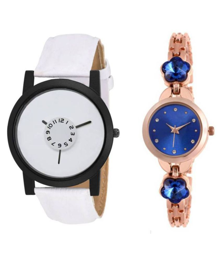Pack Of Two Metal And Leather Strap Couple Combo For Boys And Girls Watch - For Men & Women