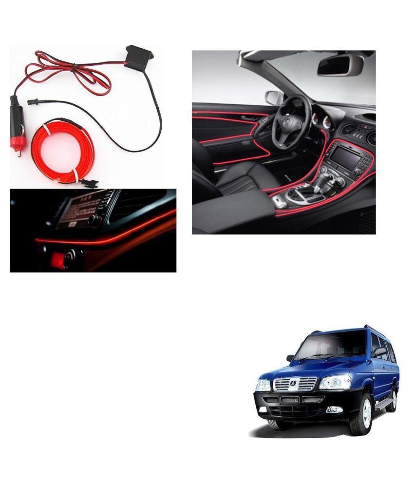 Auto Addict Red Color 12V 5Mtrs Roll Cold Light Car Socket Strip Neon Lamp Creator Decor Dashboard Interior Lighting For ICML Rhino