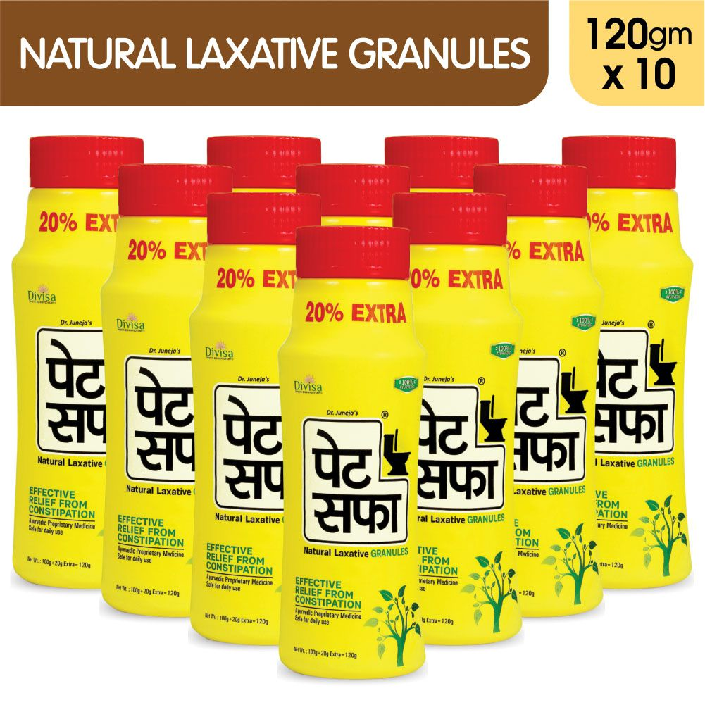 Pet Saffa Natural Laxative Granules 120gm, Pack of 10 (Helpful in Constipation, Gas, Acidity, Kabz), Ayurvedic Medicine