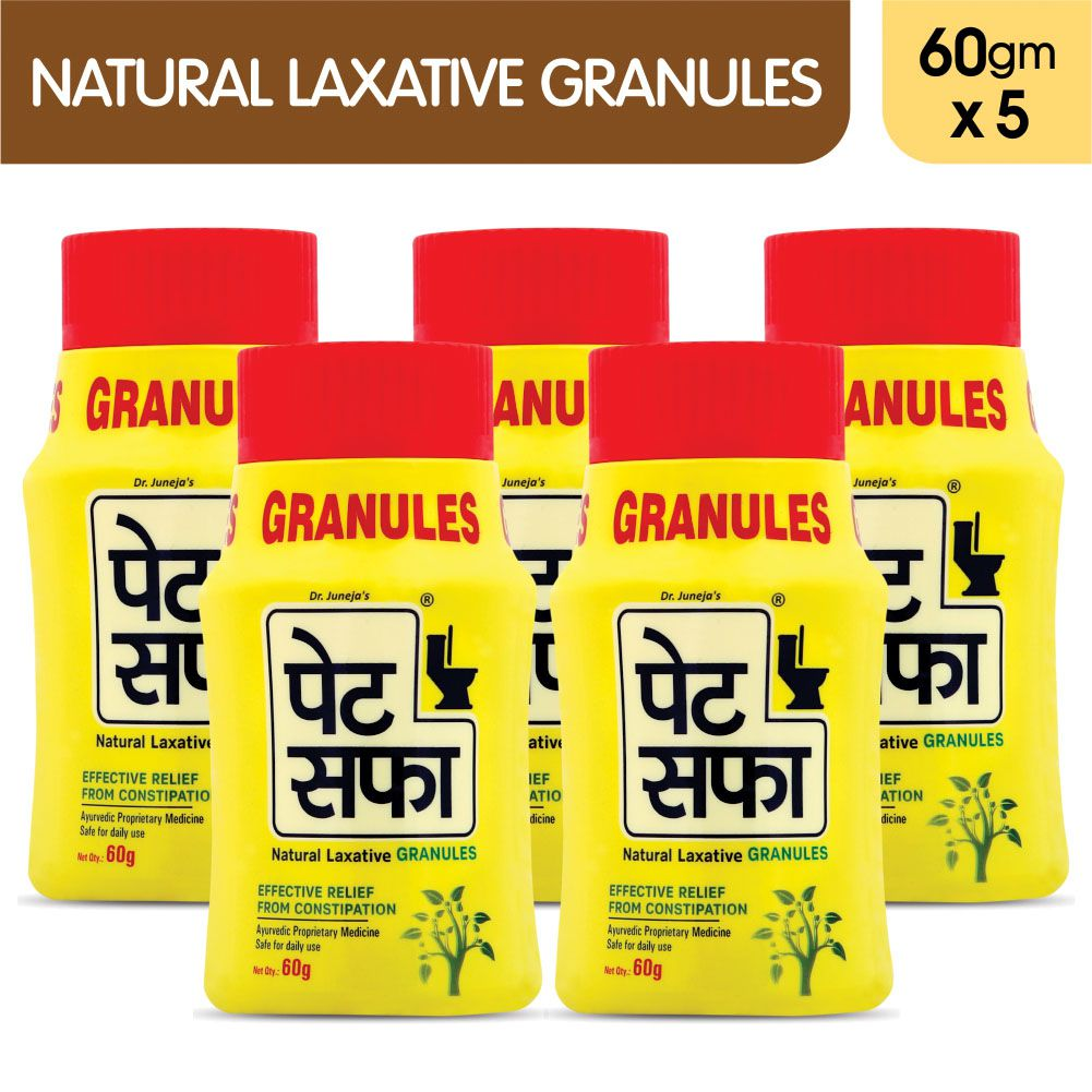 Pet Saffa Natural Laxative Granules 60gm, Pack of 5 (Helpful in Constipation, Gas, Acidity, Kabz), Ayurvedic Medicine