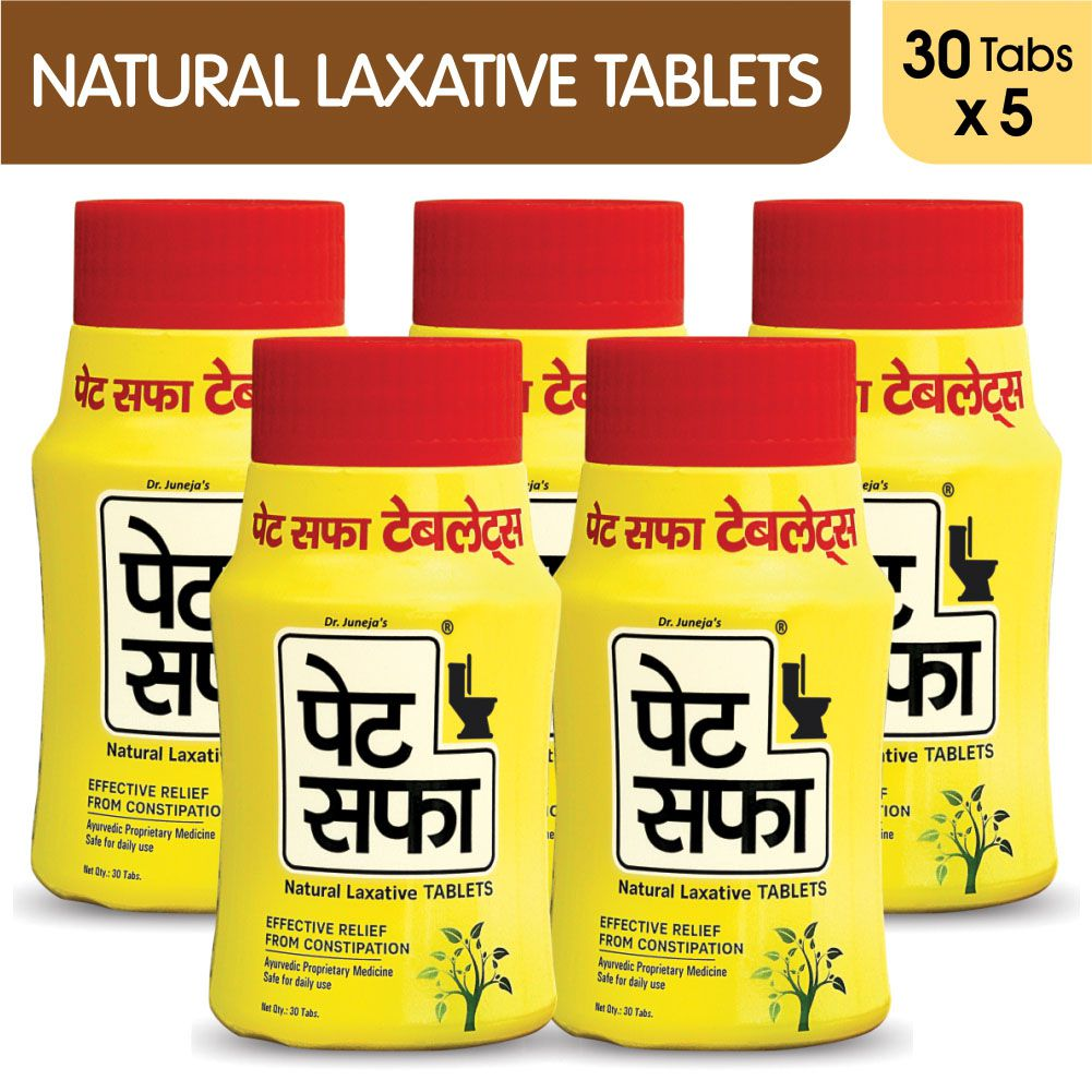 Pet Saffa Natural Laxative Tablets 30 Tablets, Pack of 5 (Helpful in Constipation, Gas, Acidity, Kabz), Ayurvedic Medicine