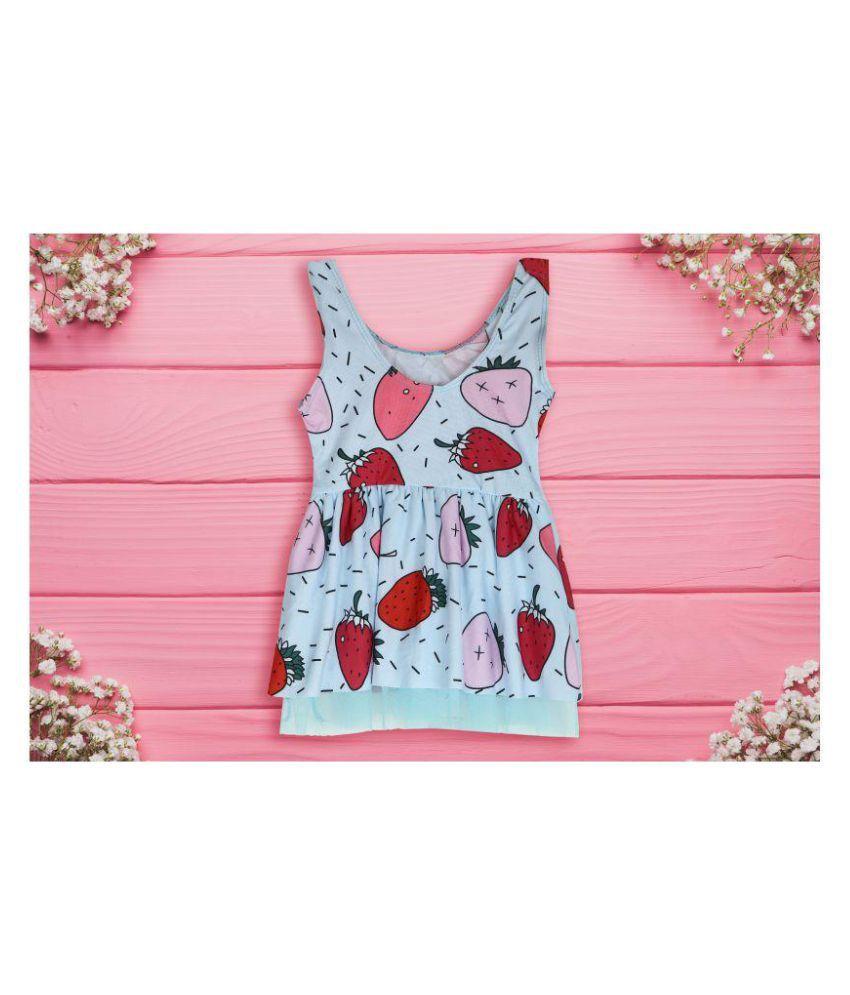 Passion Petals 2 -3 Years One Piece Suits Kids Girls Swimwear Baby Girl Strawberry Printed Lace Blue Swimsuit Bikini  bathing Suit Swimwear Costume-Blue