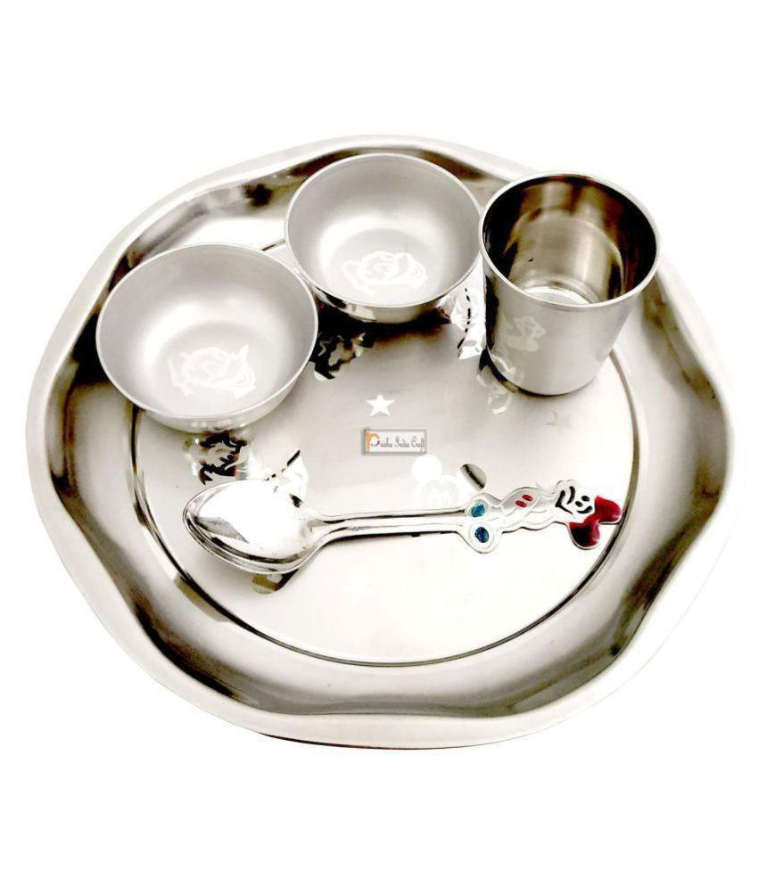 Prisha India Craft Stainless Steel Dinner Set of 5 Pieces