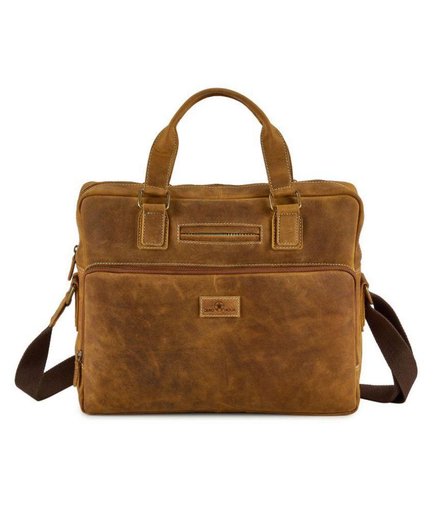 Zero Hour Tan Leather Office Bag