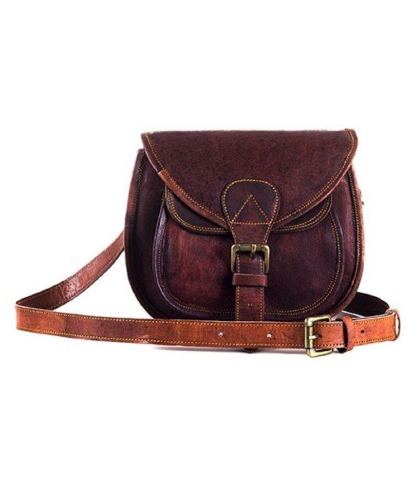 angel bag Brown Leather Casual Messenger Bag