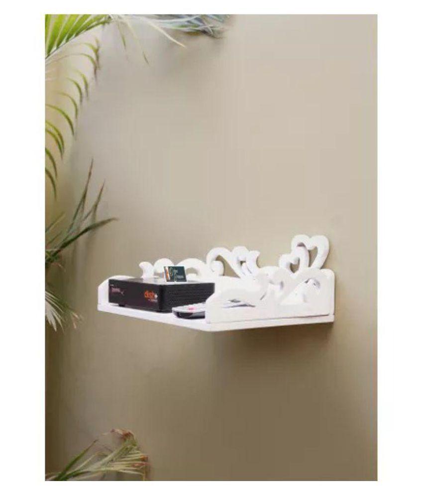 Onlineshoppee MDF Beautiful Design Set top box Wall Shelf Colour- White