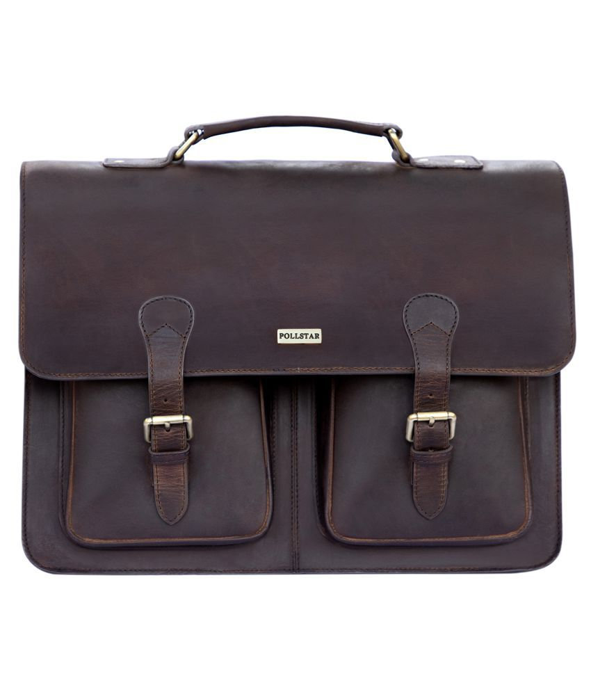 POLLSTAR MB9995BK Brown Leather Office Messenger Bag