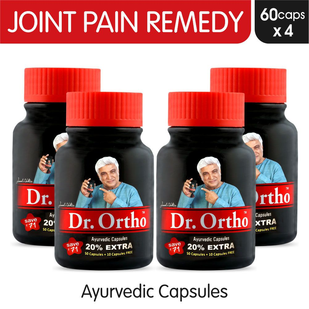 Dr Ortho Joint Pain Relief Capsules 60Caps, Pack of 4 (Ayurvedic Medicine  Helpful in Joint Pain, Back Pain, Knee Pain, Neck Pain) - Ayurvedic Capsules