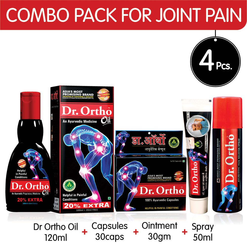 Dr Ortho Combo Pack (Oil 120ml, 30 Capsules, Spray 50ml, Ointment 30gm) -  Ayurvedic Medicine Helpful in Joint Pain, Knee Pain, Back Pain