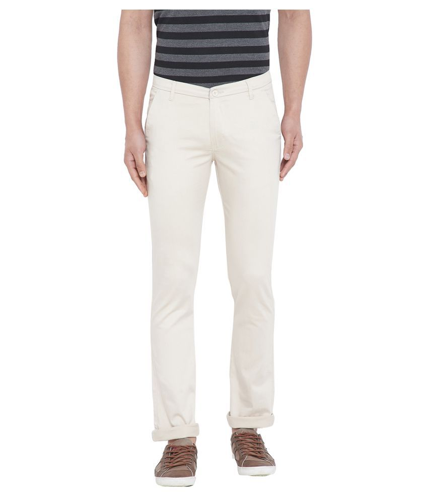 Duke Cream Regular -Fit Flat Trousers