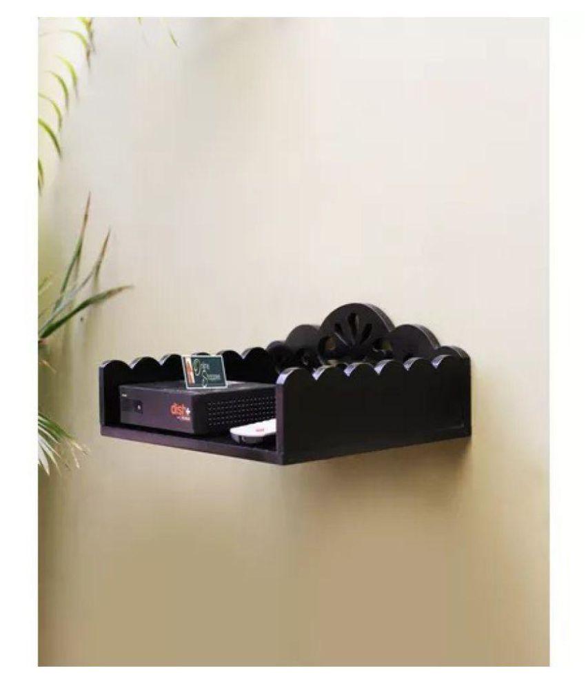 Onlineshoppee MDF Beautiful Design Set top box Wall Shelf Colour-Black