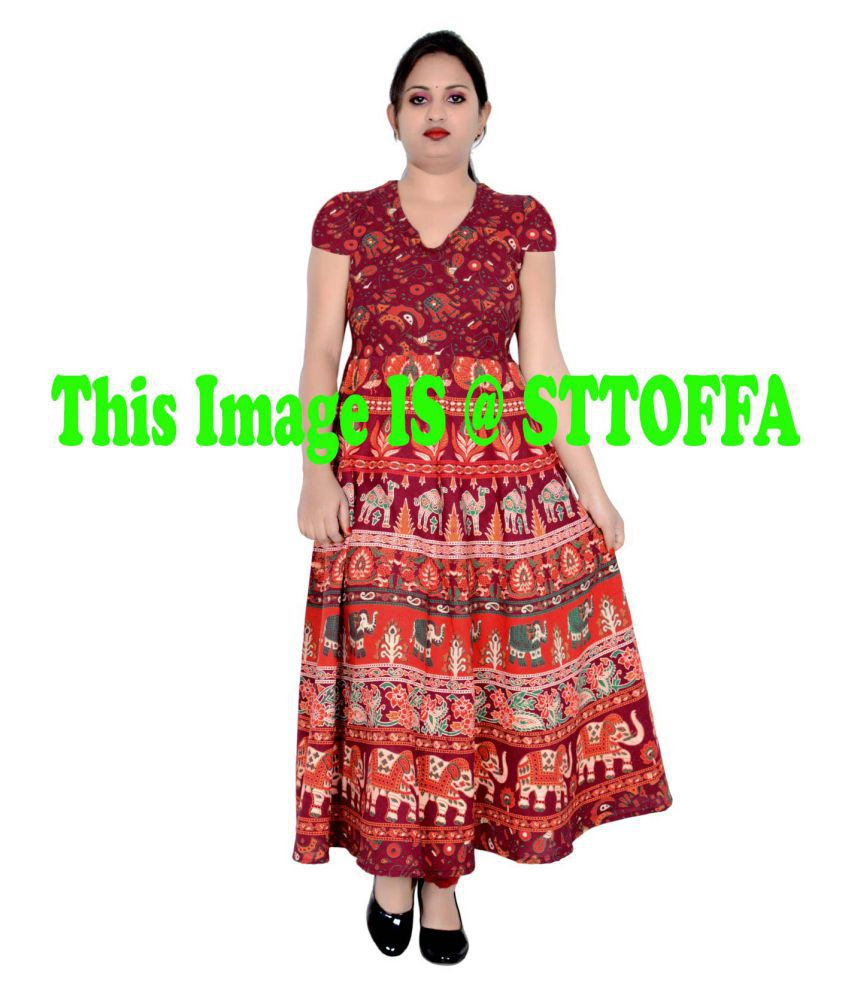 Sttoffa Cotton Maroon Fit And Flare Dress