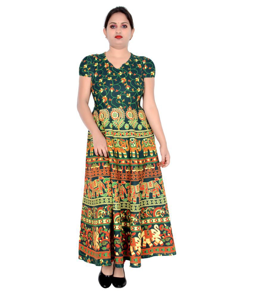Sttoffa Cotton Green Fit And Flare Dress