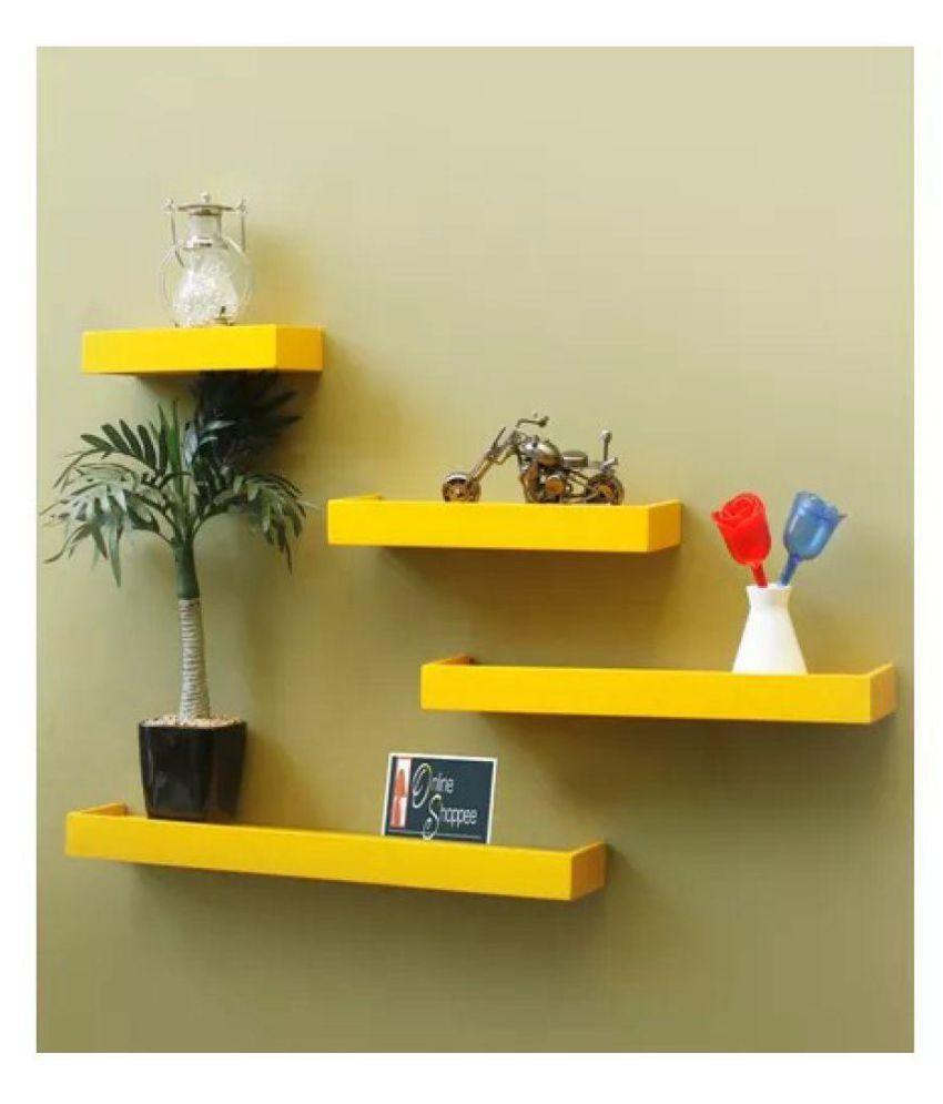 Onlineshoppee Beautiful MDF Yellow Rectangular Wall Shelf set of 4
