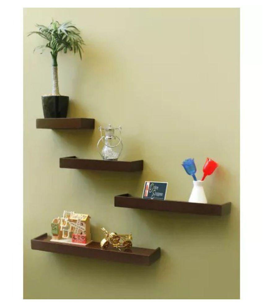 Onlineshoppee Beautiful Wooden Rectangular Wall Shelf set of 4