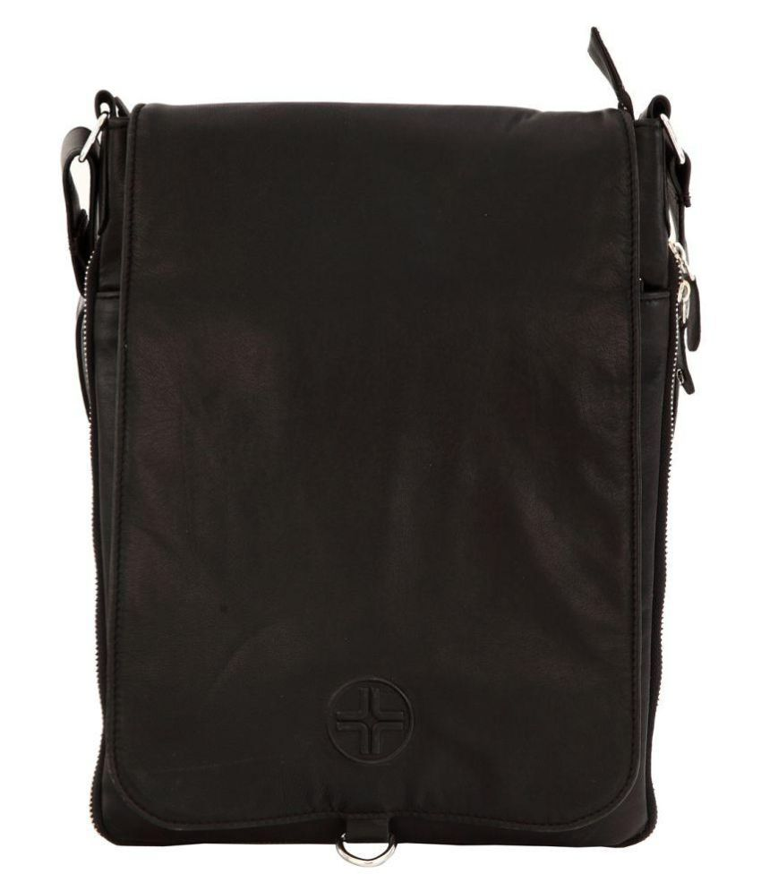 JL Collections Black Leather Office Messenger Bag
