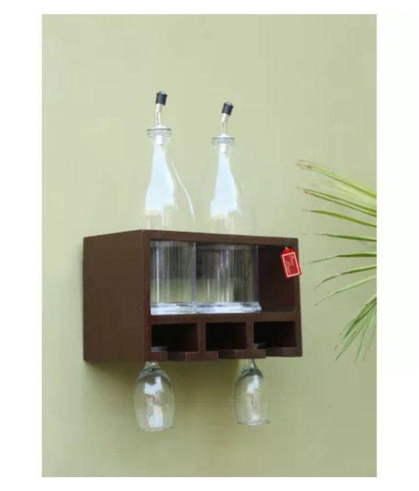Onlineshoppee Unique Wooden Bottle Rack (Brown , 2 Bottles Holder)